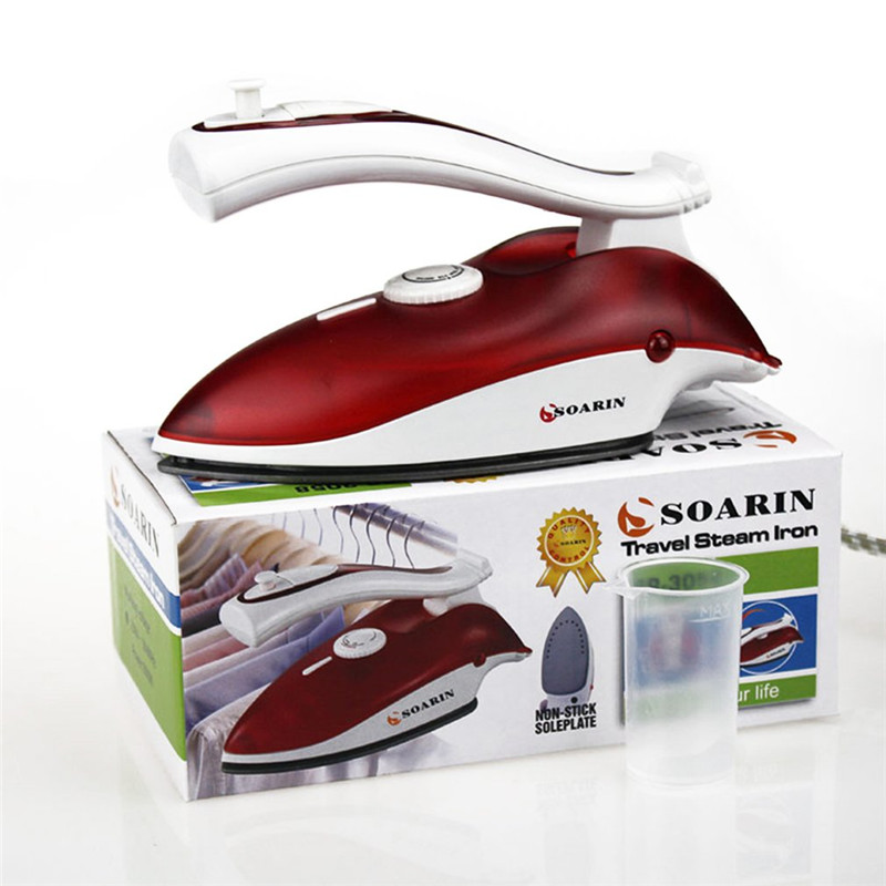 SOARIN Mini Portable Electric Steam Iron Clothes Iron Steamer Teflon Base plate Foldable Handheld Flatiron For Home Traveling portable garment steamer 1000w handheld clothes steam iron machine steam brush mini household ironing for for fabrics clothes