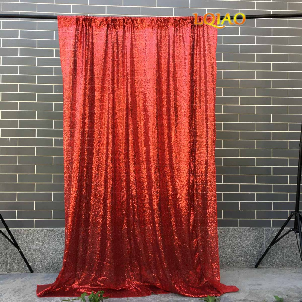 LQIAO Red Sequin Backdrop Curtain 4x10ft Sparkly Sequin Fabric Photo Booth Photography Curtain Wedding Birthday Party Decoration
