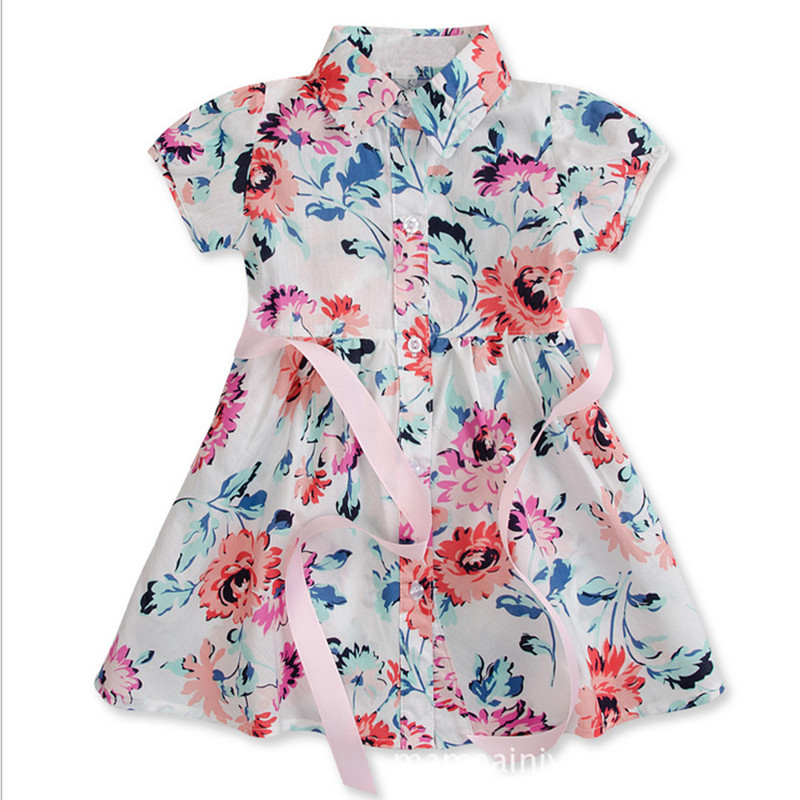 2-7year Spring Summer Girl Shirt Dress Flower Girls Party Costume Baby Kids Clothes lovely Casual Belt Fashion Children Clothing 2017 flower girl dress casual daily style kids dress for girls spring baby girl clothes children brand clothing fashion hot sale