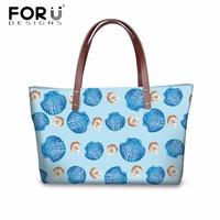 FORUDESIGNS Luxury Women Handbags Big Cross Body Bags Cute Blue Shell Printed Women's Casual Messenger Bags Female Handbag Bags