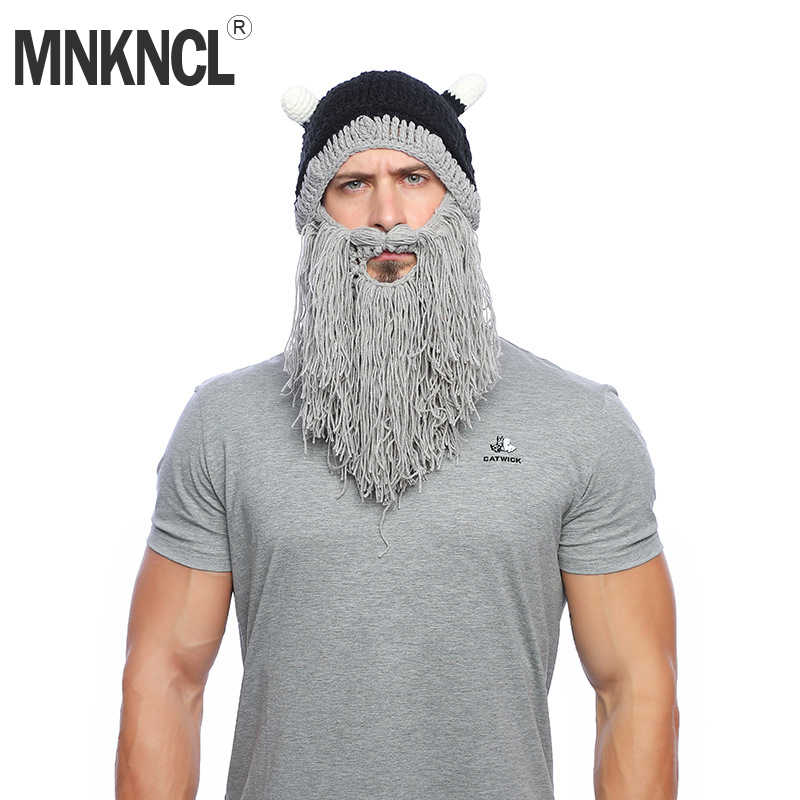 ef985d0a6df MNKNCL 2018 New Viking Beard Beanie Horn Hat Winter Warm Mask Hat Wool  Knitted Hat Funny