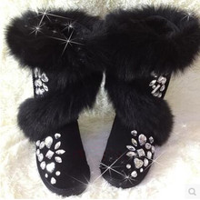 2016 New Real Fox Fur Snow Boots Women Genuine Leather Rhinestone Handmade Bootas Fashion Black Fringed Boots Winter Shoes Bot