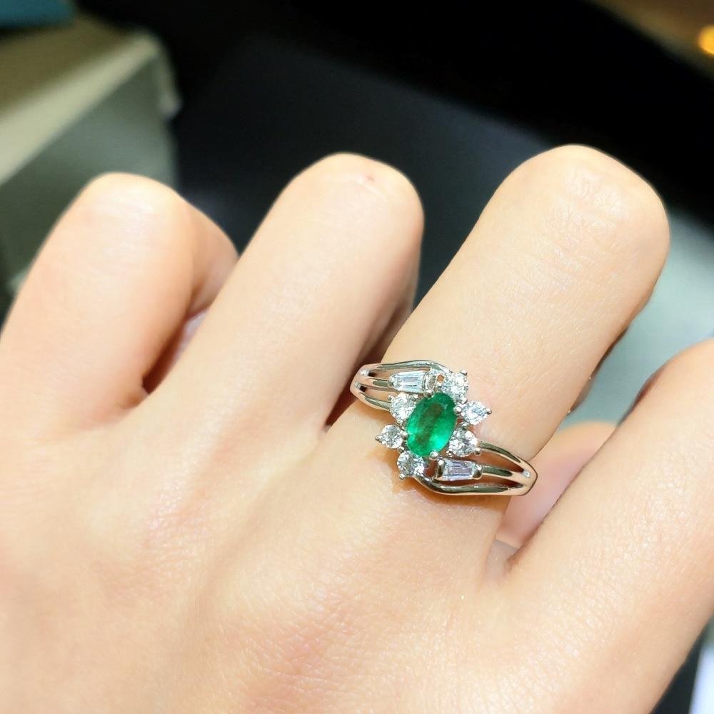 FLZB... gema Esmeralda 100% Natural 0.55ct ov 4*6mm anillo de piedras preciosas de lujo de diseño elegante en anillo de Plata de Ley 925 para dama-in Anillos from Joyería y accesorios    1