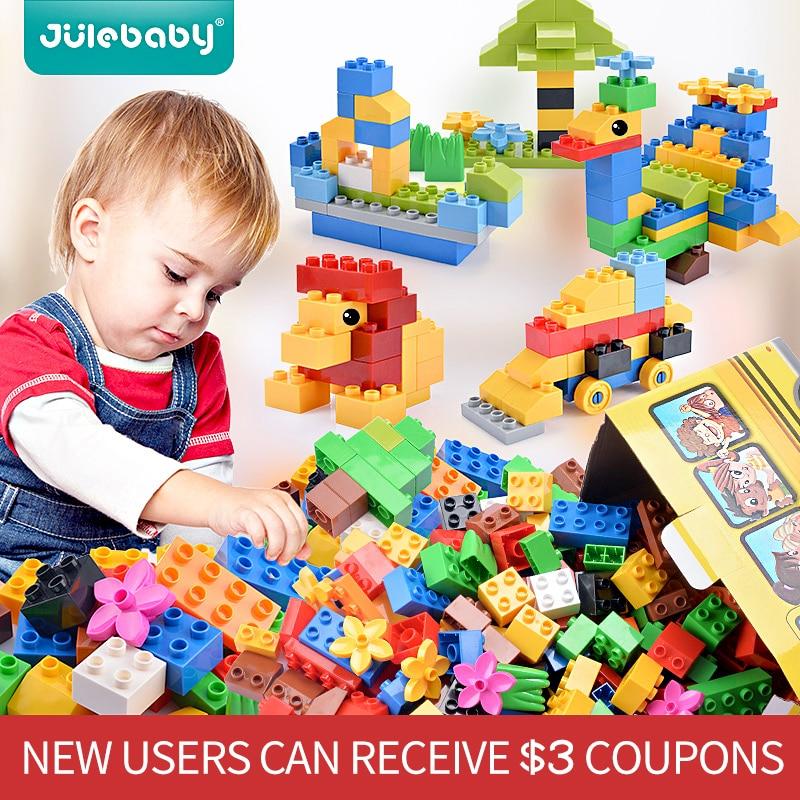 52-156 Pcs DIY Design Building Blocks Toys For Children Boys Kids Compatible With Duplo Big Size Brick Educational Model