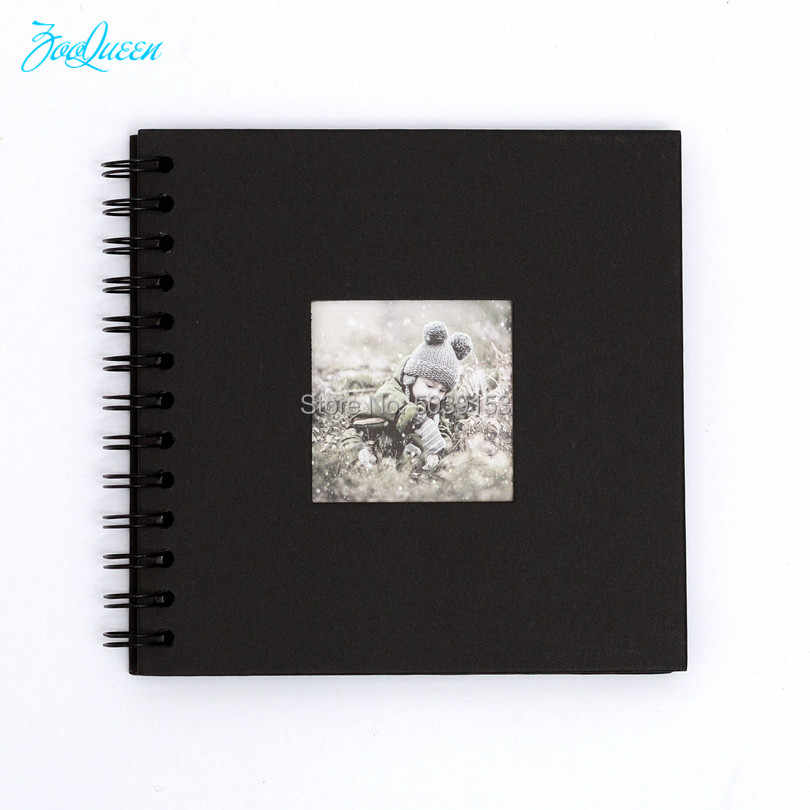 DIY Classic Black Wedding Gift Simple Photo Album Scrapbook Clear Stamps Instax Stickers Graduation Paper Album Kid's Picture