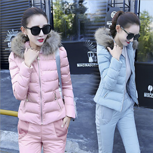 Fashion winter warm Women woolen down Jackets Coat and pants  suits set parkas jacket coat suit 2 pieces suits sets jacket pants