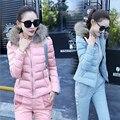 Moda inverno quente Mulheres de lã para baixo Casaco Casacos e calças de ternos conjunto terno 2 peças ternos do revestimento do revestimento parkas define calças jaqueta