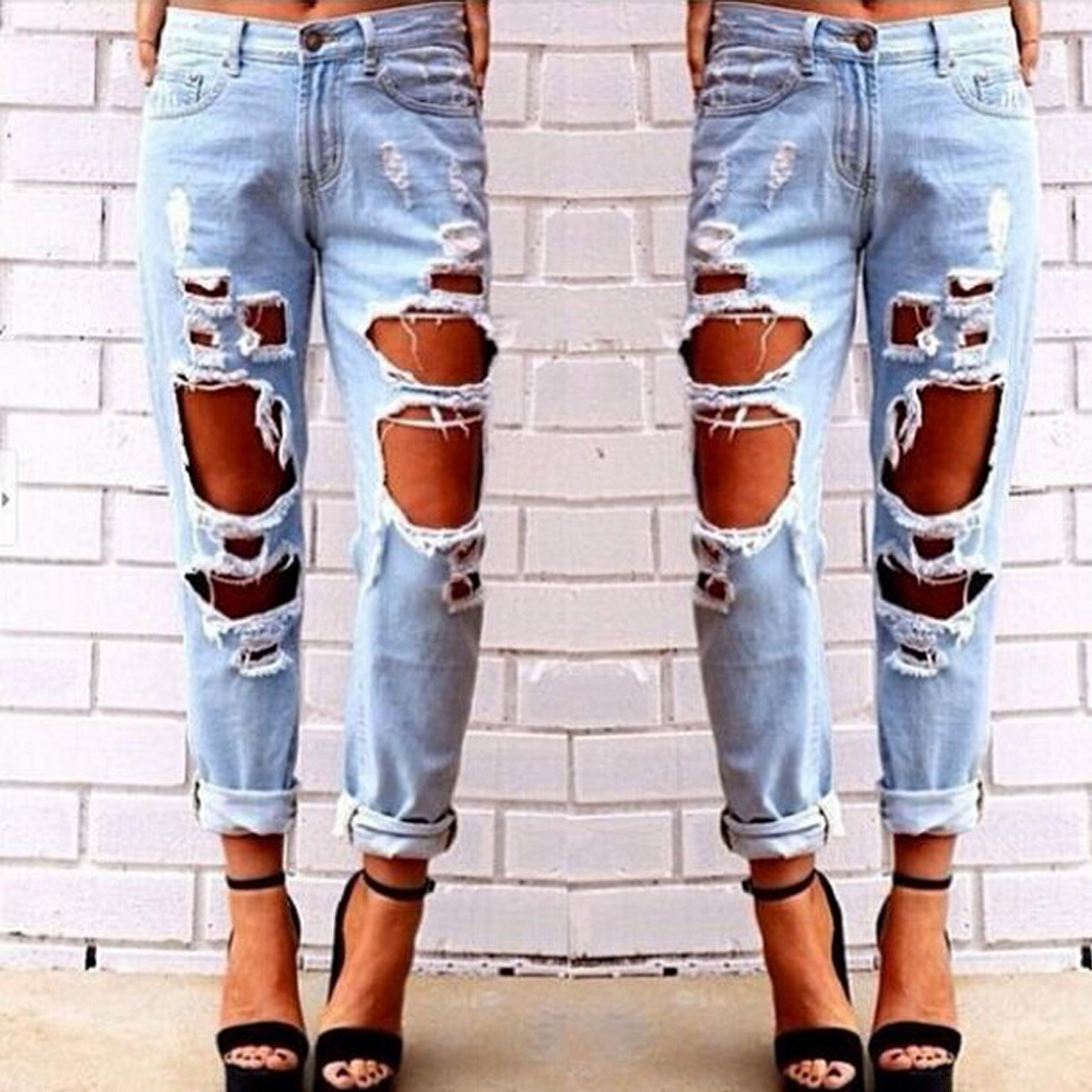 Black Friday Deals New 2017 Sexy Womens Hole Jeans High Waist Trousers Casual Loose Retro Denim Pants