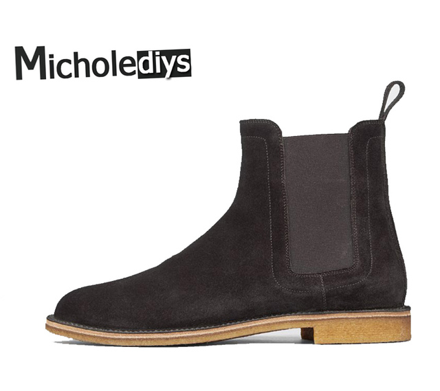 Micholediys Classical Vintage Chelsea Boots Handmade All-matching Kanye West Boots Crepe Bottom Casual Platform High Mens Shoes