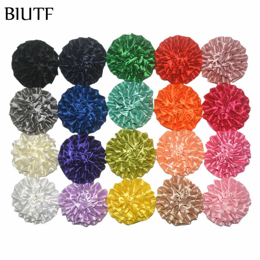 50Pcs/lot 3.6'' Fancy Satin Fabric Flower 9cm Large Puff Flower Flat Back Girl Headwear Accessories 20 Cute Colors TH283