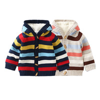 Baby Sweater For Boys Cardigan Autumn Hooded Plaid Knitted Boys Girls Jacket and Coat Toddler Baby Girl Sweater Pullover