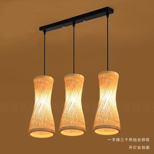 Chinese Bamboo Chandelier Lamp Three Garden Modern Creative Restaurant Bar Woven Lighting