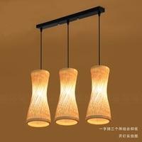 Chinese bamboo bamboo chandelier lamp three garden modern creative restaurant bar bamboo woven bamboo chandelier lighting YA7268
