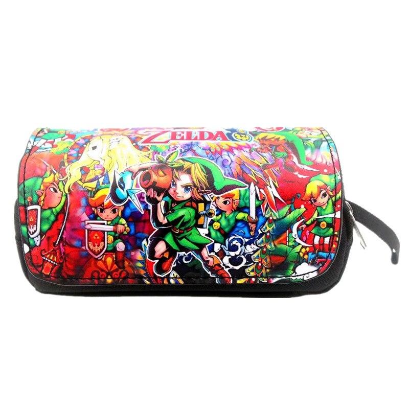 New Anime Game Zelda Pen Pencil Bag Student Stationery Bags Cartoon Zelda Link Zipper Makeup Case Cosmetic Bag