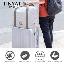 TINYAT Women Travel Bag Hard Fold Luggage Bag Clothing Business Bag Men Storage Bag Carry on Hanging Suitcase Light Garment Bag(China)