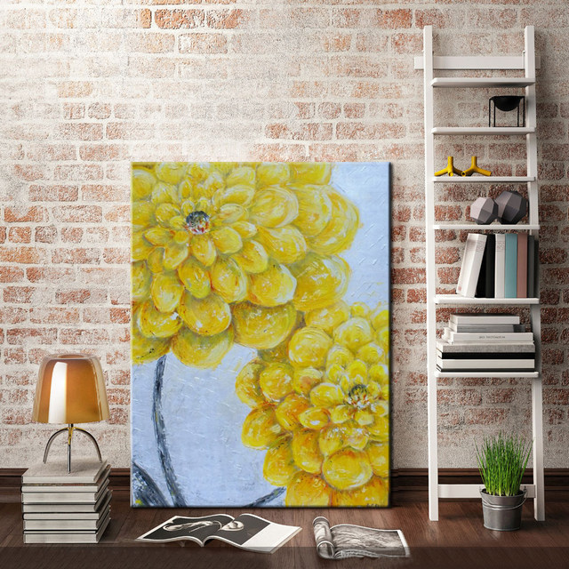 Online Shop Wholesale Handmade Oil Painting on Canvas Yellow Dahlias ...