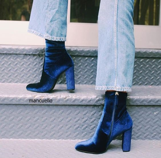 cceeb34bd109 Fashion Women Soft Velvet Dark Blue Block Heels Ankle Boots Trendy Round  Toe Side Zip Boots Celebrities in Same Hot Selling
