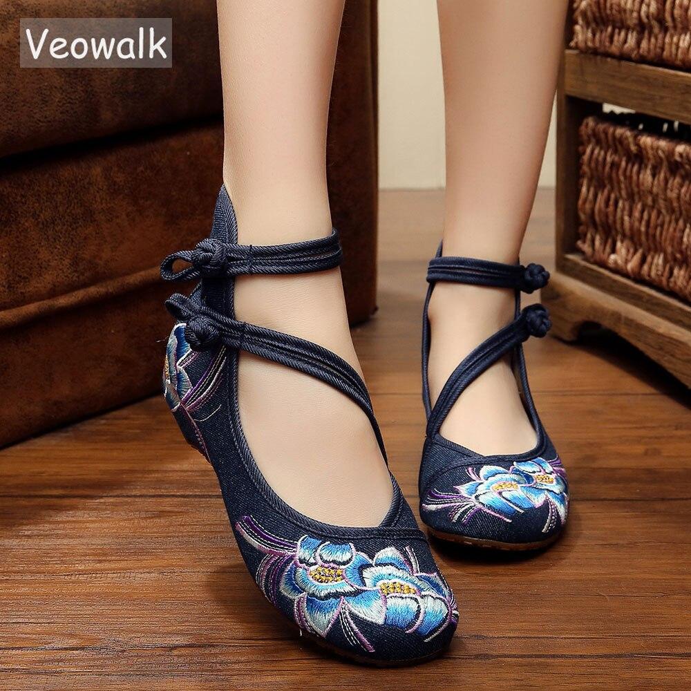 Veowalk zapatos de Ballet informales para mujer con flores bordadas a mano, zapatos de algodón de mezclilla suave para mujer con correa en el tobilloballet flatscotton shoesankle strap -