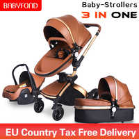 Babyfond 3 in 1 Luxury baby stroller PU leatherL two-way push 360 rotate baby car cart trolley Europe baby Pram Free Gift