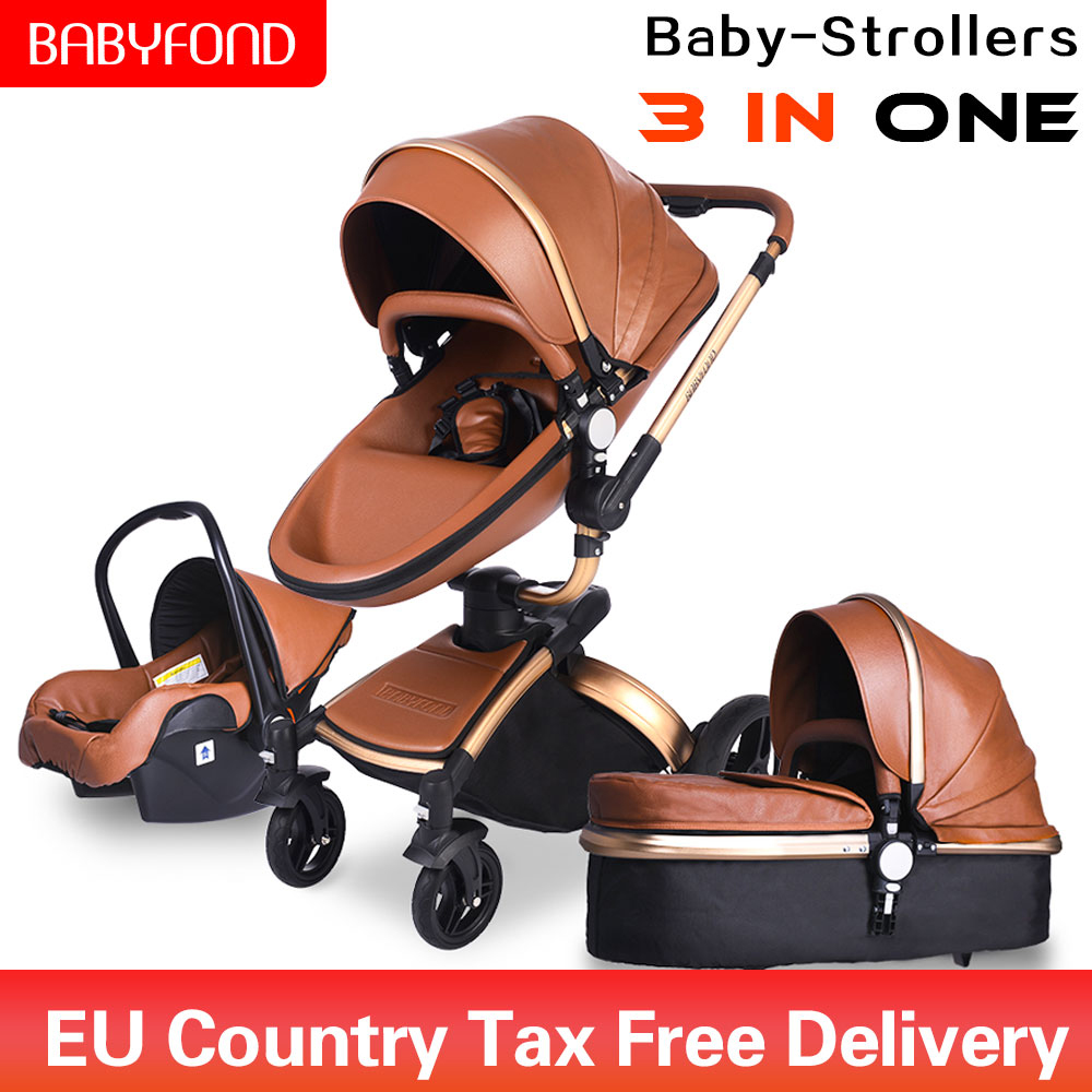 Babyfond 3 in 1 Luxury baby stroller PU leatherL two-way push 360...