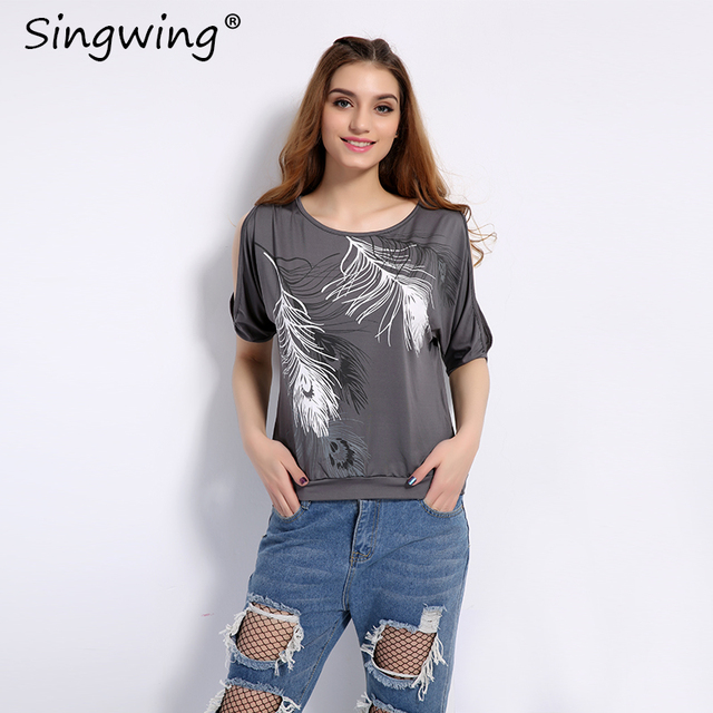 Summer Women Feather Printed T-shirts O- neck Strapless Shirts Off Shoulder Short-sleeved T-shirt Loose Type