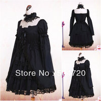 Custom madev 1117 черный хлопок Готическая Лолита платье/викторианской платье коктейльное платье/костюм для Хэллоуина US6 26 XS 6XL