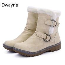 47fd82e35 Fashion Winter Boots Women Snow Boots Flat Heels Winter Shoes Warm Fur Boot  Mid-Calf