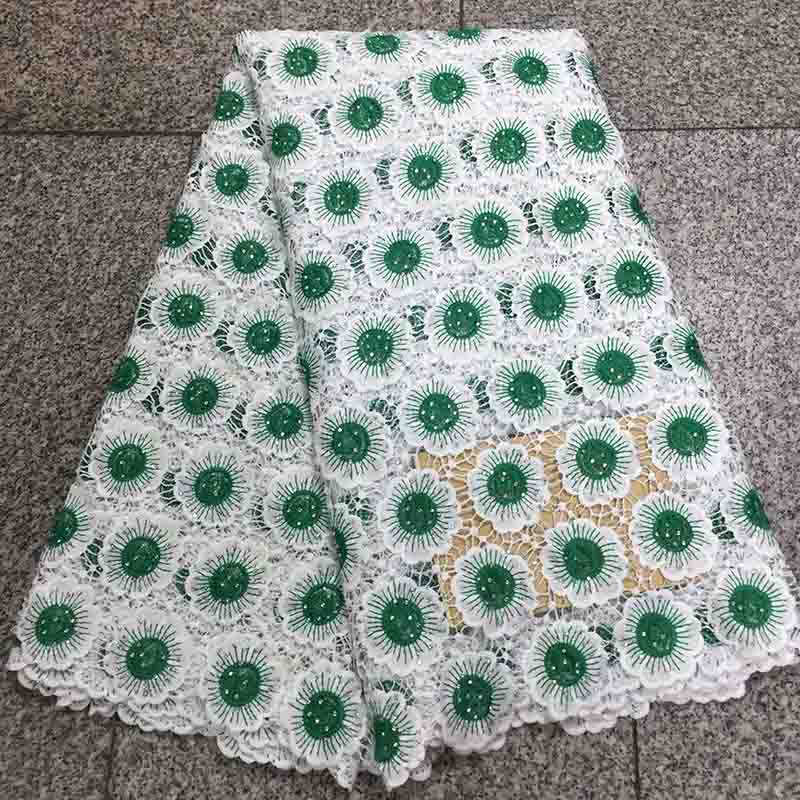 Green High quality African Lace Fabric Embroidered Cord Fabric Swiss Voile French Net Rhinestones Lace For