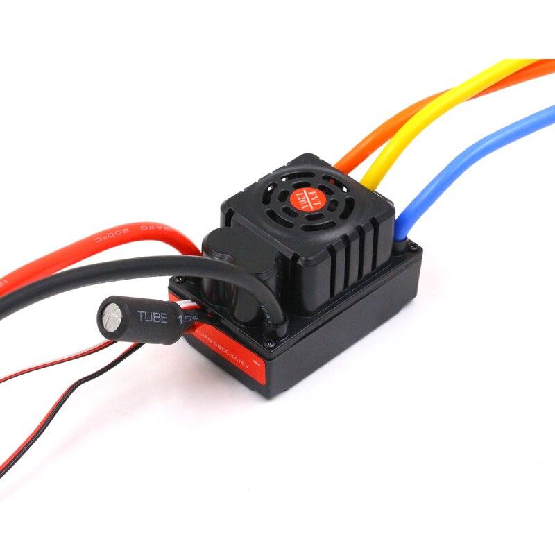 FATJAY FVT bateria LiPo 2 6 S 120A wodoodporna z czujnikiem bezczujnikowy samochód bezszczotkowy ESC dla 1/8 1/10 RC Car model w Części i akcesoria od Zabawki i hobby na  Grupa 1