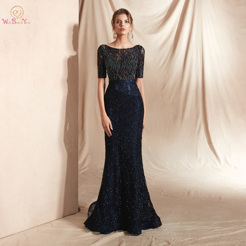 Long Dresses Evening Party Navy Blue Lace Beading Sequined Mermaid Sweep Train Short Sleeves Prom Gown Cut Out Walk Beside You