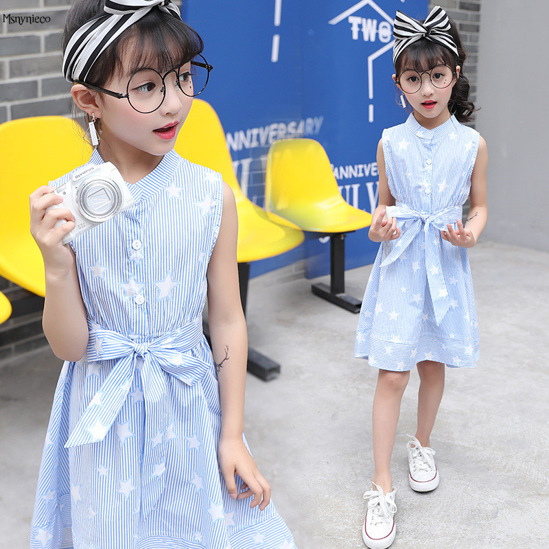 Children Dresses for Girls Summer Casual Stripe Baby Girl Dress 2017 Fashion Kids Clothes 4 6 8 10 12 Years Girls Clothing baby girls party dress 2017 wedding sleeveless teens girl dresses kids clothes children dress for 5 6 7 8 9 10 11 12 13 14 years