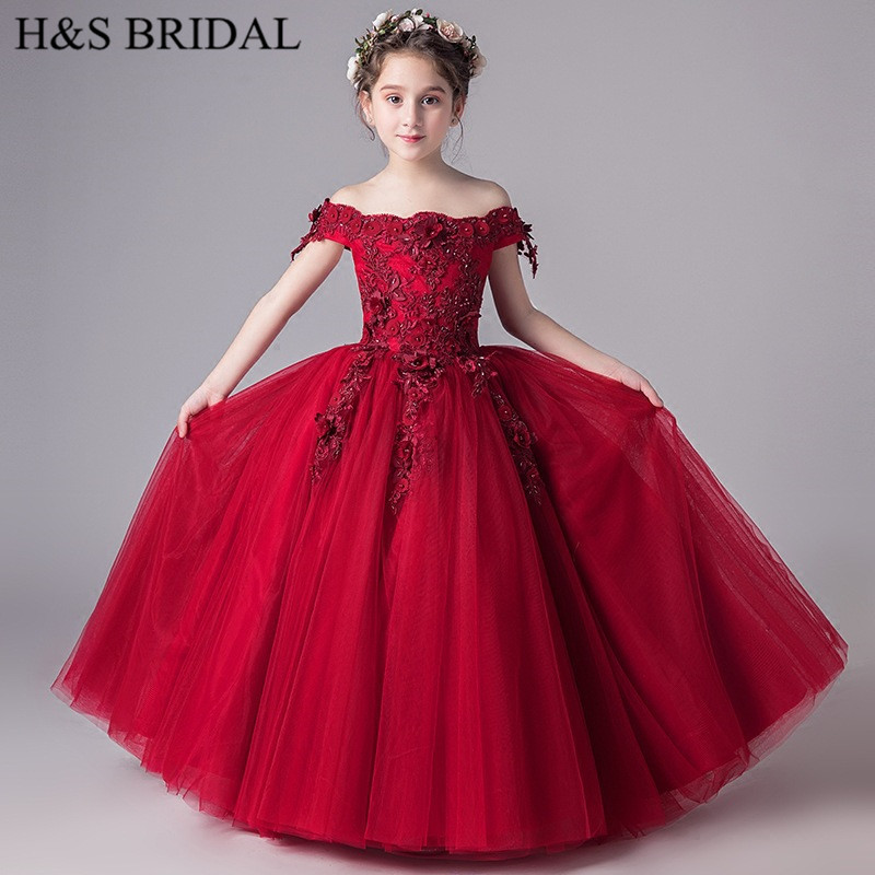 H&S BRIDAL Burgundy   flower     girl     dresses   Lace Pageant   Dresses   ball gown primera comunion vestido de daminha