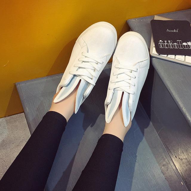 Mujer Sólido Orejas de Conejo Zapatos Creepers Comfort Holgazanes Con Cordones Planos Ocasionales Del Holgazán Zapatos de Plataforma Zapatillas Mujer Tamaño 8