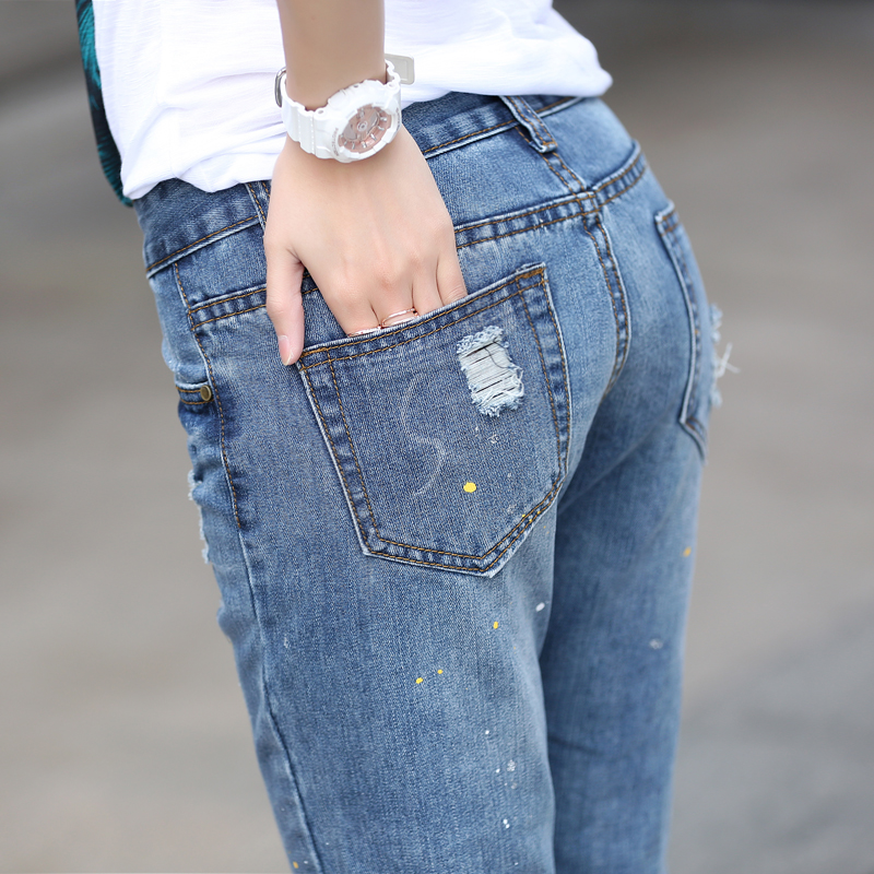 CTRLCITY Autumn style  hole ripped jeans Women jeggings cool denim high waist pants capris Female Straight casual jeans