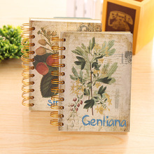 1pc 120sheets Creative Retro Classical Flowers Hard Surface White Pages Coil Lap Notebook Learning Supplies