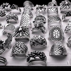 Image 2 - Lote de anillos barrocas de estilo gótico tribal para hombre y mujer, de alta calidad, tallados, vintage, bronce, 25 uds., venta al por mayor