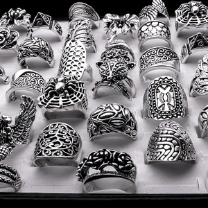 Image 2 - wholesale lots mixed 25pcs Gothic tribal lady/mens carved top quality vintage bronze antiqued baroque rings