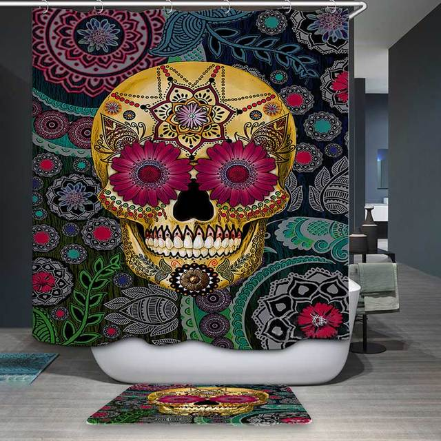 DecorUhome Polyester Waterproof Cartoon Flower With Skull Shower Curtain Bathroom Curtains 12 Hooks Mildewproof Bath