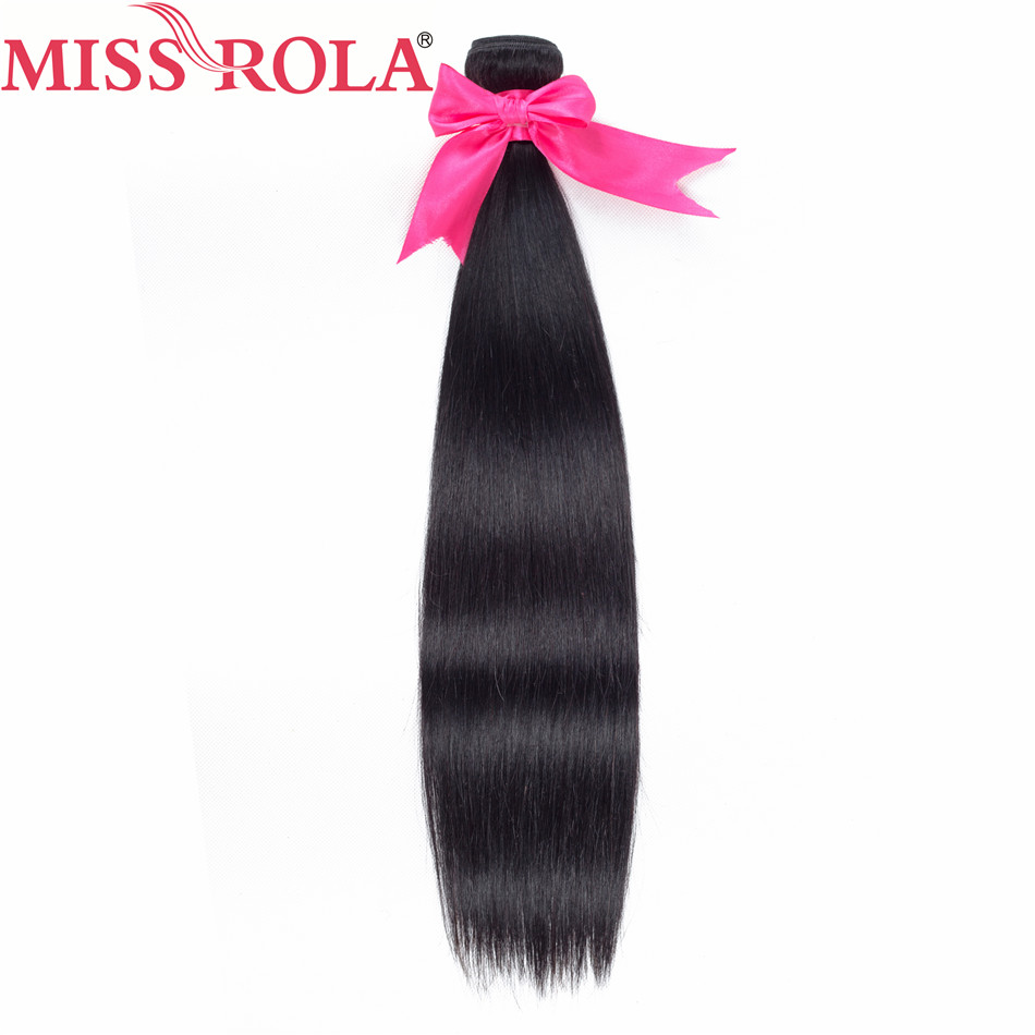 Fröken Rola Hair Pre-Colored Peruvian Hair 3 Bundles Straight 100% - Mänskligt hår (svart) - Foto 3