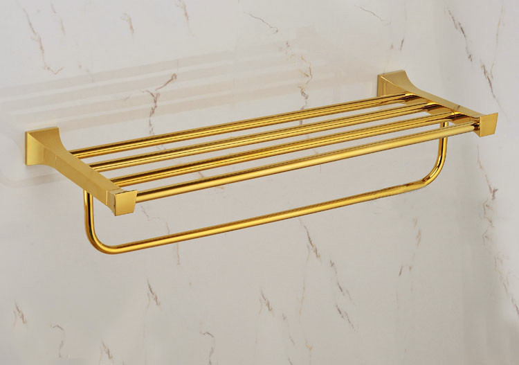 Free shiping Double Towel Racks,Towel Holder/Shelf,brass Construction,Golden finish,bathroom accessories GB008a nail free foldable antique brass bath towel rack active bathroom towel holder double towel shelf with hooks bathroom accessories
