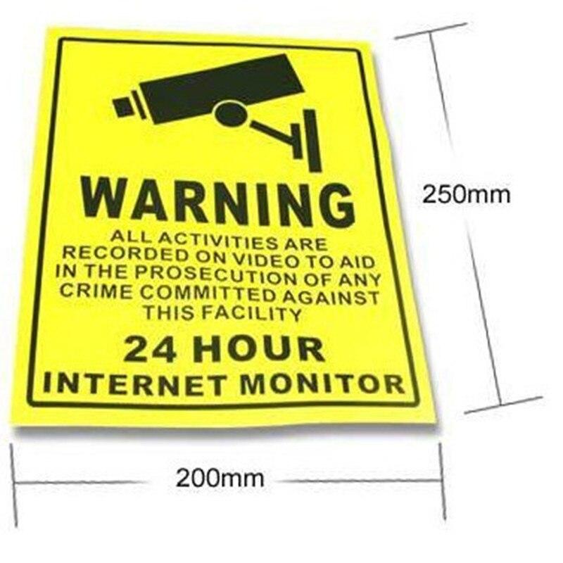 Новый Дизайн 10 шт. 24 часа видеонаблюдения Наклейки Камера Предупреждение вывески таблички Бесплатная доставка