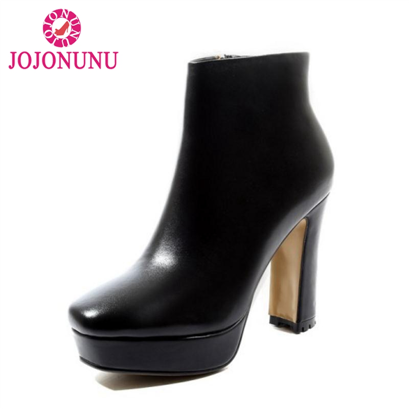 JOJONUNU Woman Real Leather Boots Natural Skin Shoes Ankle Boots Shoes Woman High Heels Boots Platform Footwear Size 34-39JOJONUNU Woman Real Leather Boots Natural Skin Shoes Ankle Boots Shoes Woman High Heels Boots Platform Footwear Size 34-39