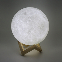 SXZM 3D Printing Moon Novelty Light Lunar USB Charging Night Lamp Touch Control Brightness Yellow White