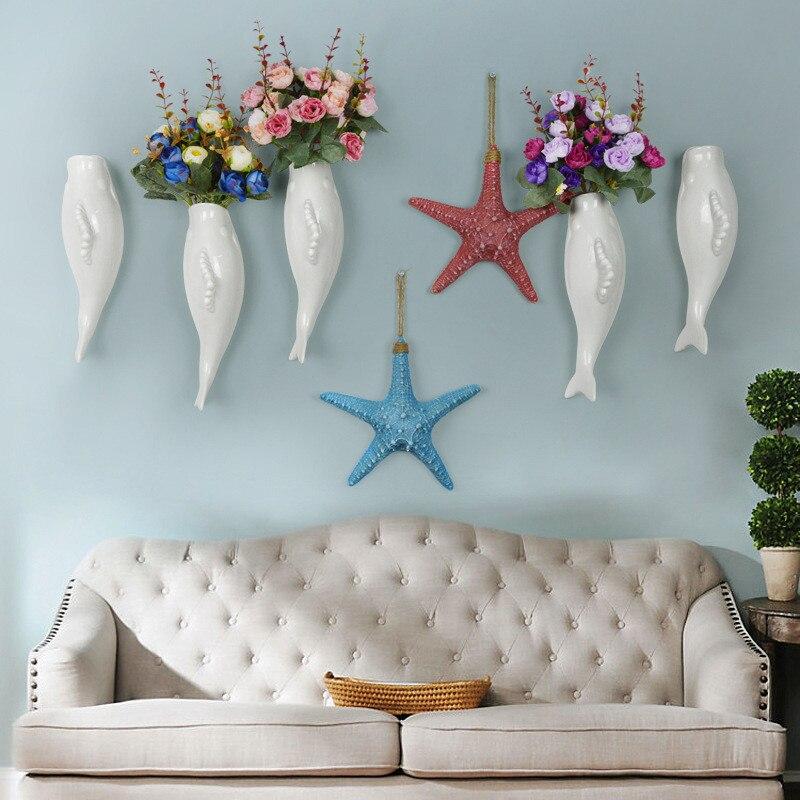 New Creative Modern Mural Restaurant Vase Crafts Small Fish Shape Home Decoration Accessories Marine Animal Wall Decoration