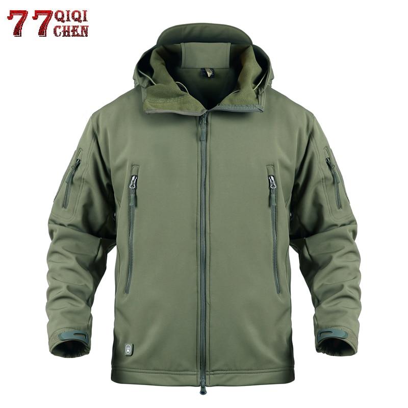 Waterproof Windproof Soft Shell Tactical Jackets Mens Windbreaker Plus Size 5XL Military Camouflage Fleece Jacket Coat Men