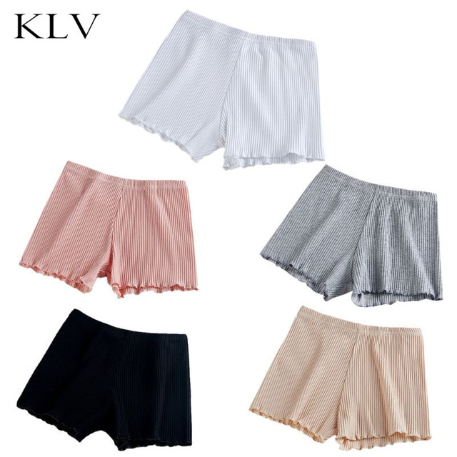 Ladies Women Summer Safety Thread Ribbed Striped Seamless Stretchy Underpants Solid Color Ruffled Agaric Hem Boxer Shorts