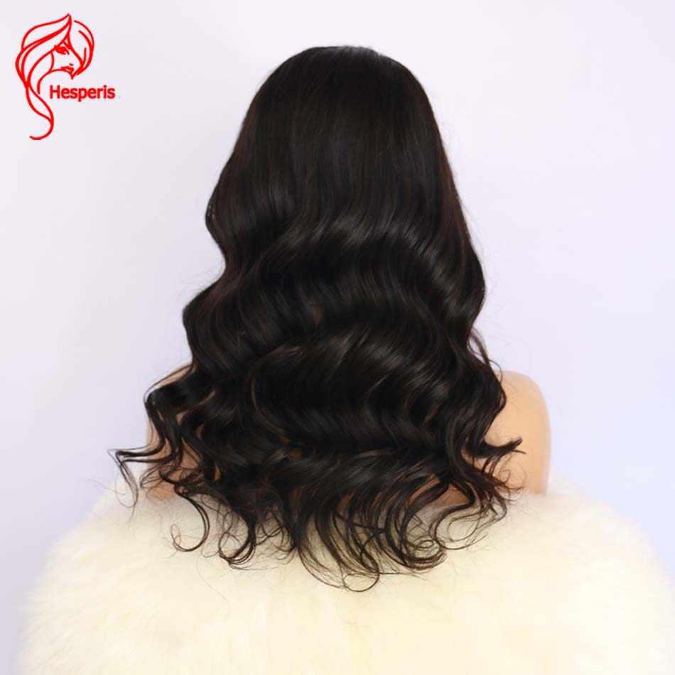 Hesperis Glueless Синтетические волосы на кружеве парики человеческих волос с челкой натуральный волнистые бразильский Реми Синтетические волосы на кружеве парики для Для женщин предварительно сорвал