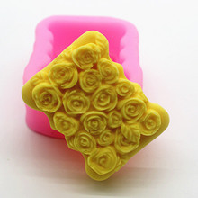 3D silicone Soap Mold Rectangle Square Making Molds DIY Rose Flower Mould