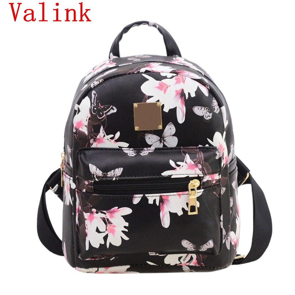 Мода 2017 г. Для женщин рюкзак Причинное цветочные печати из полиэстера кожа softback мешок для девочек школьная сумка рюкзак Mochila Feminina