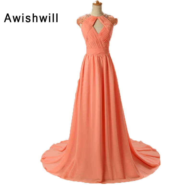 Fashion Vestido Festa Real Photo Open Back Beaded Chiffon Cap Sleeve Coral Color Long Party Dress Special Occasion Evening Gowns